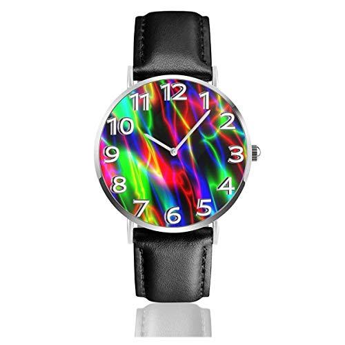 Reloj de Pulsera Color Art Negro Abstracto Durable PU Correa de Cuero Relojes de Negocios de Cuarzo Reloj de Pulsera Informal Unisex
