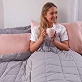 Brentfords Weighted Blanket 8 lbs for Glass Beads for Kids Single Bed Size Hot Cold Sleepers Adults Children, Silver Grey - 50' x 60'