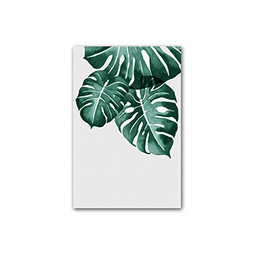 N / A Minimalist Tropical Leaf Poster Green Plant Wall Art Picture Print Canvas Painting Living Room Decoration Home Decoration 40X60CM