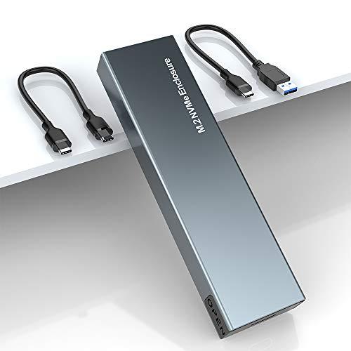 M.2 NVME SSD Carcasa Externa, Caja NVMe PCIe USB 3.1 Gen2 10Gbps, Carcasa Disco Duro Thunderbolt 3 Adaptador para SSD M.2 NVMe M Key o B+M Key 2230/2242/2260/2280 Compatible con PS4 Xbox PC Macbook