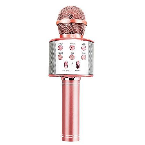 JINGBU Micrófono inalámbrico Bluetooth de mano Karaoke Micrófono USB Mini Home KTV Para Música Profesional Altavoz Reproductor de Canto Grabadora Micrófono Oro