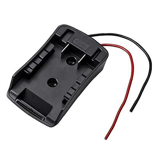 Adaptador de ruedas de alimentación 14.4V-18V Conector de batería de iones de litio con cables compatibles con Decker Black Durable