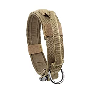 Yunlep Adjustable Tactical Dog Collar Heavy Duty Metal Buckle with Control Handle for Dog Training,1.5″ Width (L, Coyote Brown)