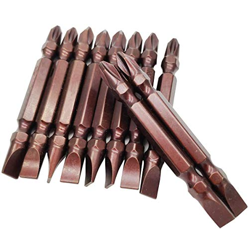 10Pcs 2.5 Inch(65mm) Length Magnetic 6.0mm PH2 Phillips Slotted Double End Screwdriver Bits