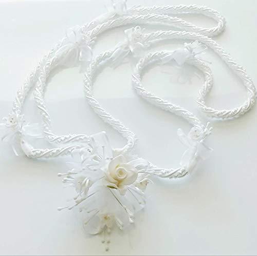 Party Supplies Wedding White Love Rope, with White Flowers & Silver Rhinestones. Wedding Lasso . /Lazo de boda.
