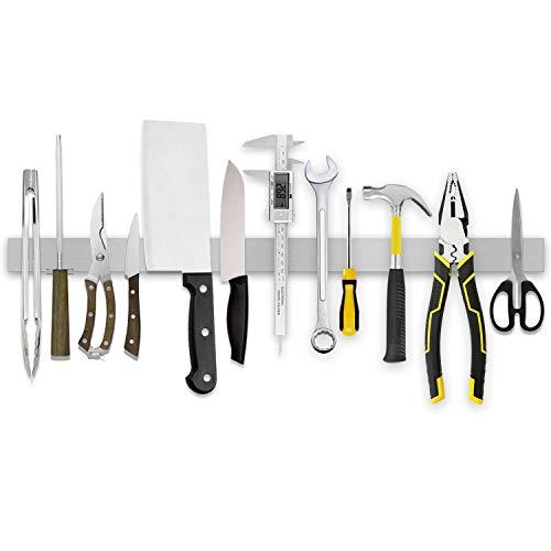 Hokyzam 24 Inch Stainless Steel Magnetic Knife Tool Holder Magnetic Knife HolderBar Storage Heavy Duty Space-Saving Metal Tools Organizer Strip Magnetic Knife Bar Block for Art Supply Organizer