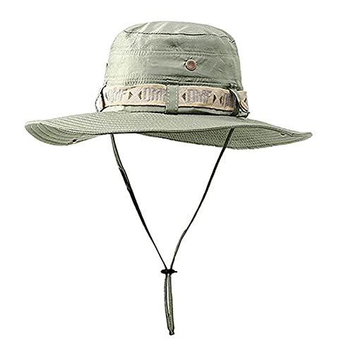 Tuxiaobu Waterproof Bucket Hat Summer Men Women Boonie Hat Outdoor Fishing Uv Protection Wide Brim Panama Safari Hunting Hiking Fishing Sun Hat ArmyGreen
