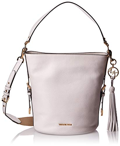 Made of softly pebbled leather with tassel detail. Magnetic snap closure. Top flat shoulder strap with detachable, adjustable crossbody strap. Signature logo hardware detail at front. Flat bottom. Lined interior. Interior zip and slip pockets. Interi...