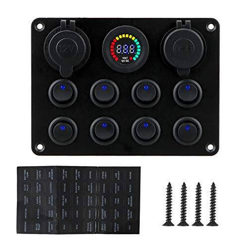 YINLONG Cargador DE USB Dual 8 Circuito de pandillas Interruptor de activación de interruptores Ajuste para camión de automóvil ATV UTV Caravan 12-24V Interruptor de botón de Empuje del Coche