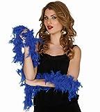 BOA IN VERA PIUMA BLU 180 CM 40graccessori Carnevale, halloween, feste e party ,cosplay