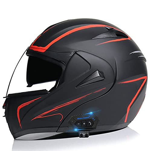Casco Motocicleta Casco Cara Completa con Doble Lente Y Auricular Bluetooth Cascos Modulare Unisex Cascos integrale Que Se Puede Abrir Y Cerrar con CertificacióN Dot + ECE