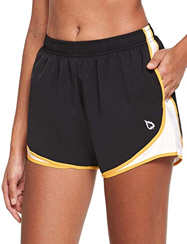 BALEAF Women's 3' Athletic Running Woven Shorts Quick-Dry Gym Sport Workout with Pockets Black/White/Yellow S