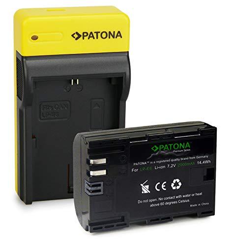 PATONA Premium Batería LP-E6 con Estrecho Cargador Compatible con Canon EOS R, 5D Mark II III IV, XC15, 70D, 80D, 90D