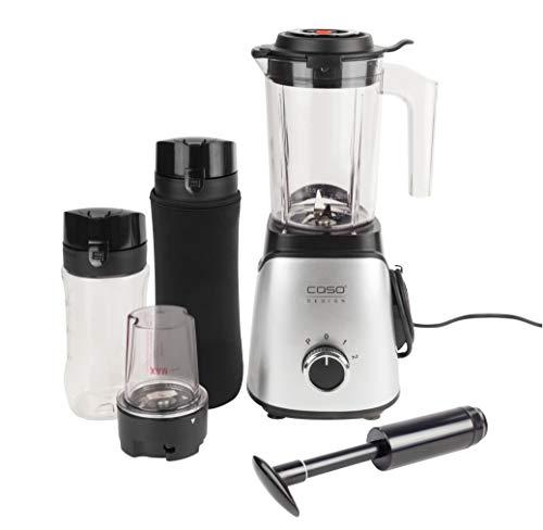 CASO B300 VacuServe – Mixer mit Vakuumfunktion, Smoothies/Shakes bleiben länger frisch, hochwertige Edelstahlklingen, inkl. 2 Trinkflaschen to go und Zerkleinerer-Aufsatz für Nüsse