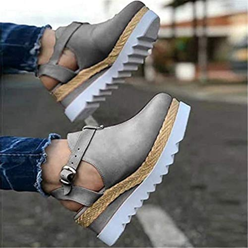 JSONA Summer Women Strap Sandals Women's Flats Open Toe Solid Casual Shoes Rome Wedges Thong Sandals Sexy Ladies Shoes,Brown,36