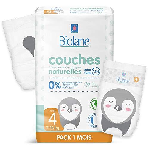 Biolane - Couches Éco-Responsables Taille 4 (7 - 18 Kg) - Zéro Fuite pendant 12h - Pack 1 Mois 132 Couches