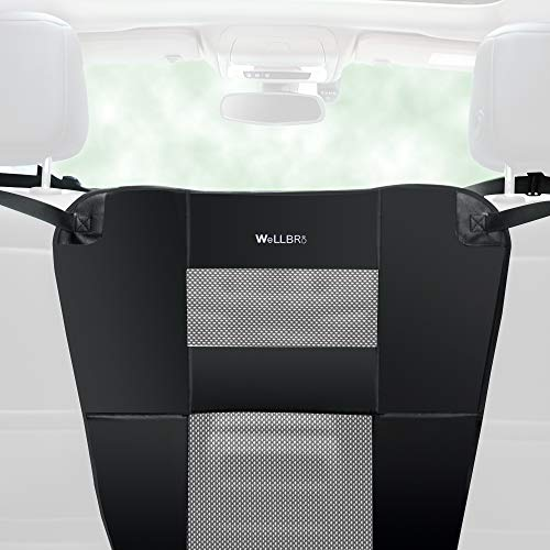 Wellbro Dog Car Backseat Barrier, Padded and Durable Nylon Net Pet Barrier, Vehicle Travel Dog Fence with 2 Mesh Windows, for Safe Driving, Easy to Install and Adjust for All Cars