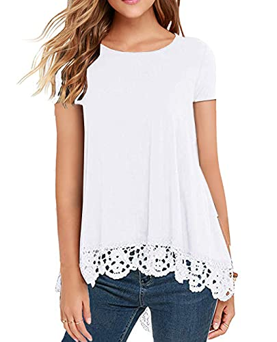 QIXING Women's Tops Short Sleeve Lace Trim O-Neck A Line Tunic Blouse White-Medium