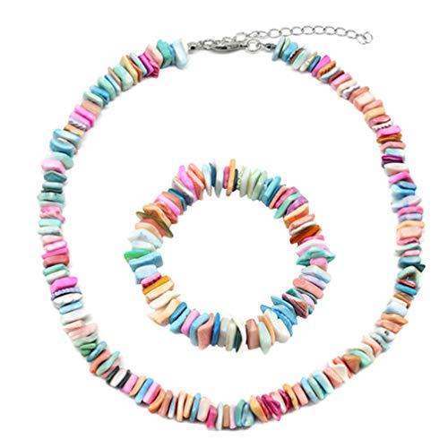 LoveAloe Collier de coquillages colorés ajustables Ensemble de bracelets de plage pour les femmes Gilrs Shell Charms Bijoux, ensemble de couleurs mélangées (Bracelet + Collier)