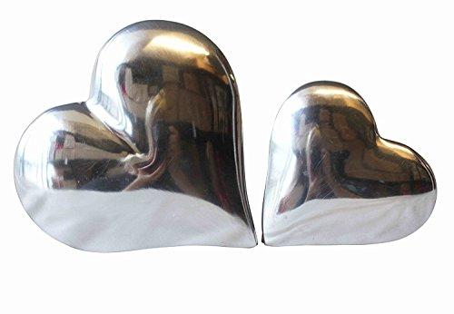 Quay Traders Metall Herz Box 2-Set Juwel Aufbewahrung Dekor Groß 5x14x14cm Klein 4x10x10cm