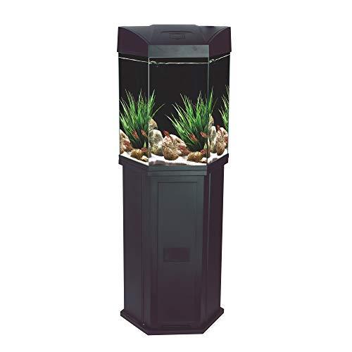 AA Aquarium Sechseck-Komplett-Glasaquarium 70 L mit Unterschrank, LED-Beleuchtung, Filter u. Pumpe, schwarz