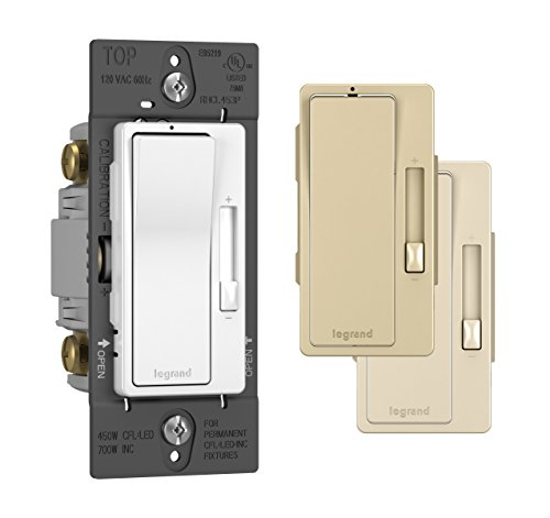 Legrand - Pass & Seymour radiant Dimmer Light Switch, for Dimmable LED Lights, 450W LED and CFL Bulbs - 700W Incandescent & Halogen, Tri Color, RHCL453PTCCCV6, White/Light Almond/Ivory