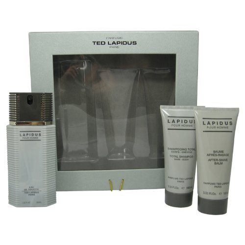 Ted Lapidus Set para Hombre Spray 3.33 Oz/Aftershave Balm 3.33 Oz/All Over Shampoo 3.33 Oz, Paquete de 3 Piezas