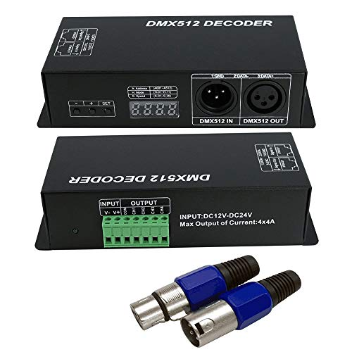 DMX 512 Digital Display Decoder, Dimming Driver DMX512 Controller for LED RGBW Tape Strip Light RJ45 Connection DC12-24V 4A/CH (4 Channel)