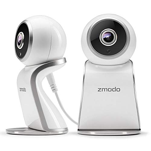 Zmodo Sight 180 Home Security Camera, Full HD 1080p Wireless Indoor IP Camera System with 180 Degree Viewing Angle, Two Way Audio, Night Vision, Motion Detection, Compatible with Alexa - 2 Pack