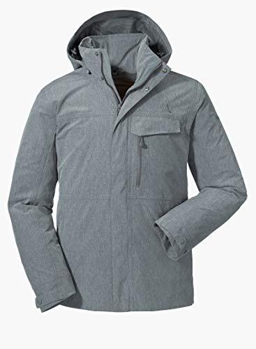 Schöffel Herren Jacket Denver2 atmungsaktive Regenjacke mit ZipIn Funktion, wind-und wasserdichte Outdoor Jacke für Männer, Grau (castlerock), 56