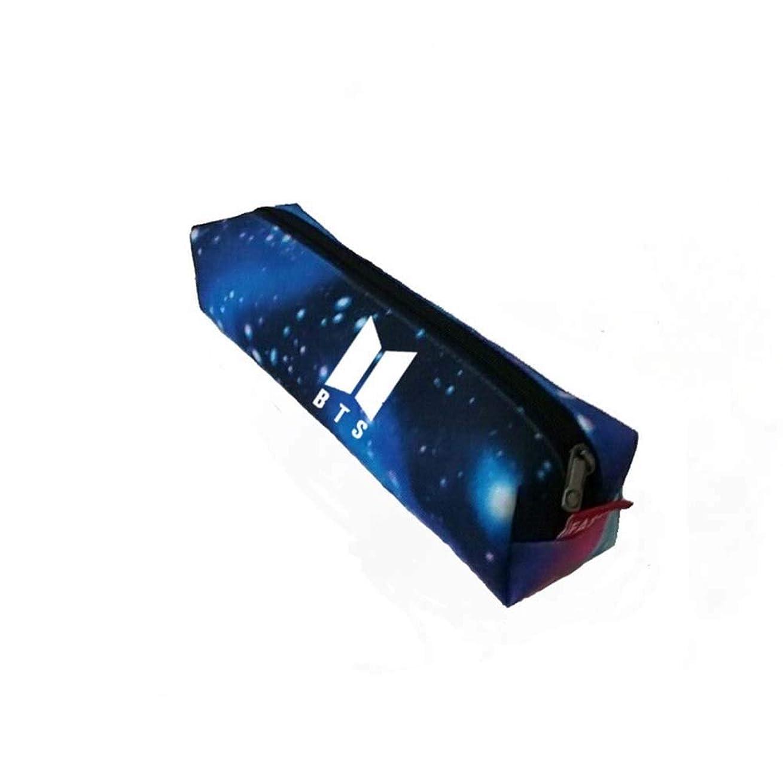 組ジェームズダイソン褐色Simg 防弾少年団 BTS BT21 ロゴ 鉛筆ケース 筆箱 ペンケース 色鉛筆ケース 多機能ケースナイロン レザー 応援グッズ (ブルー)