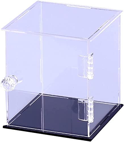 YAOJIA vitrinas expositoras Vitrina Transparente A Prueba De Polvo para Figuras Pop, Exhibición De Coleccionables, Organización del Hogar, Vitrina De Mostrador con Base Negra