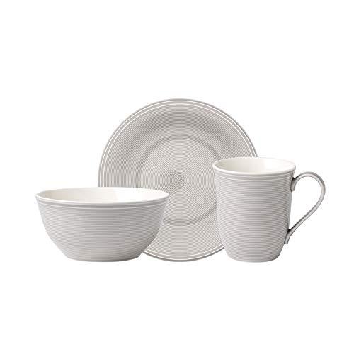 like. by Villeroy & Boch - Colour Loop Lilac service de petit déjeuner 12 pièces, vaisselle en porcelaine premium pour 4 personnes, gris, adapté au lave-vaisselle