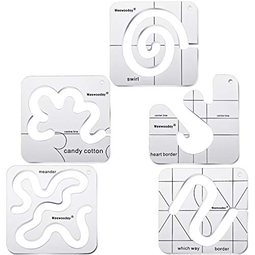 5 Pieces Free-Motion Quilting Template Set Sewing Machine Domestic Templates DIY Quilting Transparent Ruler with Quilting Frame for Simple Quilting Designs