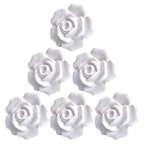 YARNOW 6 Unidades de Perillas de Gabinete de Flores Rosas Tiradores de Cajón de Cerámica Vintage para Armario de Cocina Perillas de Puerta de Armario de Cocina Floral (Blanco)