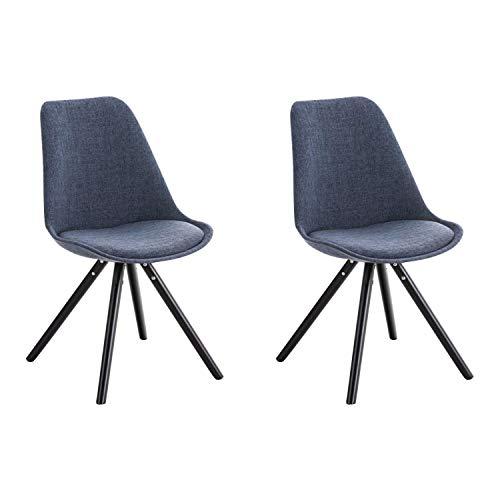 Sillas redondas de tela para salón o cocina, 2 unidades, color negro y azul