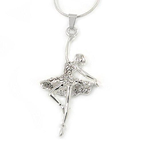 Avalaya - Ciondolo in metallo color argento a forma di ballerina, con diamanti trasparenti e catena a coda di topo, lunghezza 44 cm, estensibile di 4 cm