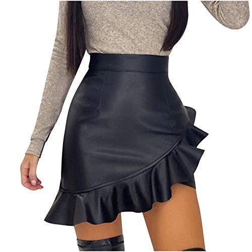 Damen Minirock Leder Bodycon Sexy Stretch Rock gekräuselter A-Linien High Waist Röcke Bleistiftrock