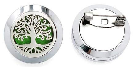 Aromabug Aromapin (Tree of Life) 22mm Personal Aromatherapy Essential Oil Diffuser Stainless Steel Locket Brooch. 7 High Fiber Pads and 3 Essential Oils Included.