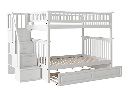 Atlantic Furniture Columbia Staircase Bunk Twin Size Raised Panel Trundle Bed, Full/Full, White