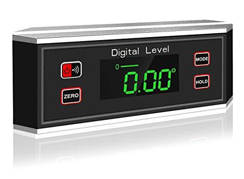 eOUTIL Digitaler Winkelmesser Winkel Finder Level IP65 Wasserdichter Winkelmesser Neigungsmesser mit V-Nut-Magnetfuß / 0 ~ 360 Grad
