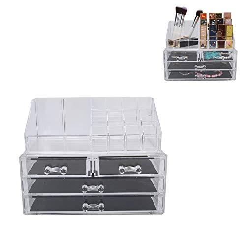 SHYEKYO Caja de Almacenamiento de cosméticos, Estuche de Maquillaje Caja de presentación de Maquillaje de acrílico Transparente con 4 cajones para cosméticos para maquillador