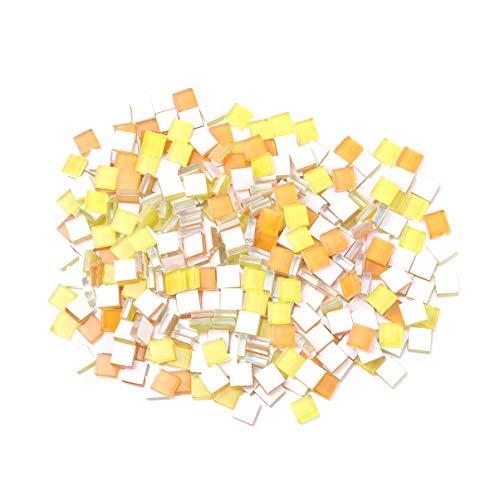Milisten - Lote de 300 azulejos de mosaico cuadrados de cristal de mosaico, piedras de cristal para marcos de fotos, bricolaje, artesanía, decoración naranja y amarillo