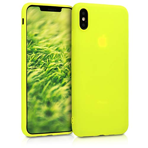 kwmobile Cover Compatibile con Apple iPhone XS Max - Custodia in Silicone TPU - Backcover Protezione Posteriore- Giallo Fluorescente