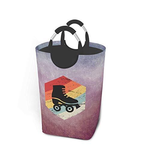 N\A Retro 70er Jahre Rollschuh Wäschekorb Korb Faltbarer Waschbehälter Hochleistungs-Studentenwohnheim Wäschesack mit Griffen für einfaches Tragen