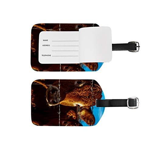 Etiquetas de equipaje, soporte para nombre de dirección, 2 unidades, juego de etiquetas de identificación portátil, bolsa de tarjetas, decoración de equipo de viaje, vacas marrones para maletas bolsas