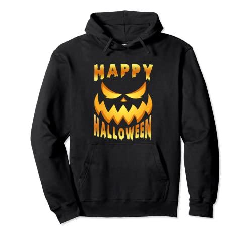 Cara de calabaza terrorfica para Halloween. Sudadera con Capucha