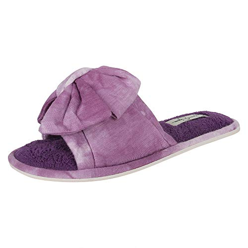 Jessica Simpson womens Plush Open Toe Slide on House With Bow Slipper, Purple, X-Large US