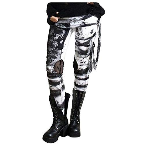 riou Pantalones Deportivos Leggings Mujer Retro con Corbata Punk Desgastada y Rockero Gótico para Running Training Fitness Estiramiento Pantalón Deportivo