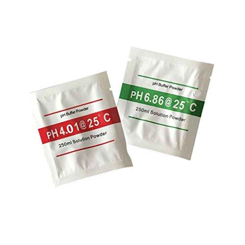 Qotone 2pcs pH Meter Buffer Solution Poudre pour un étalonnage rapide et facile du pH 4.01 6.86 Poudre d'étalonnage